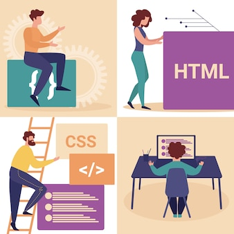 Jeune homme et femme programmeurs faire un site web