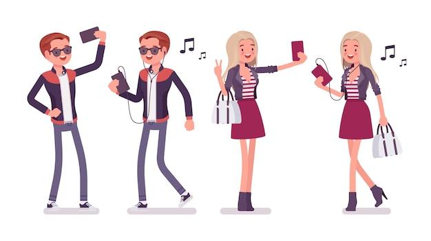 Jeune homme et femme selfie et musique amusante avec smartphone