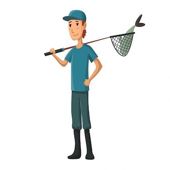 Jeune homme avec un filet de pêche à la main. garçon avec poisson dans un filet à poisson.