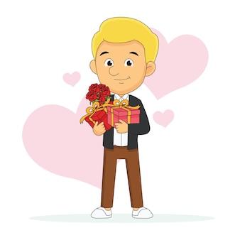 Jeune homme avec des fleurs et un cadeau attend l'amant