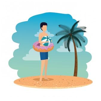 Jeune homme, à, flotteur, beignet, et, ballon, plastique, plage