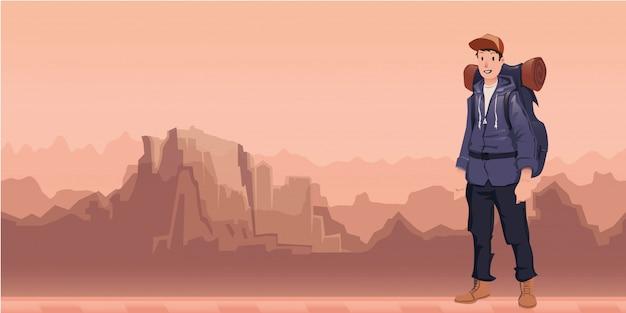 Un jeune homme heureux, routard dans un paysage de montagne. randonneur, explorateur. illustration avec espace copie.