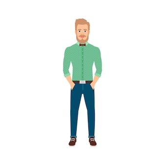 Jeune homme hipster en vêtements décontractés