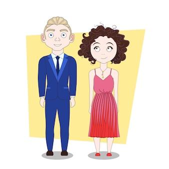 Jeune homme et hipsters en vêtements à la mode couple moderne sur toute la longueur