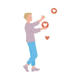 Jeune homme influent sur les médias sociaux qui obtient des likes pour sa publication