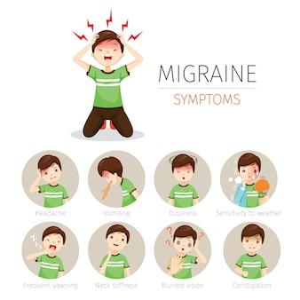Jeune homme avec jeu d'icônes de symptômes de migraine