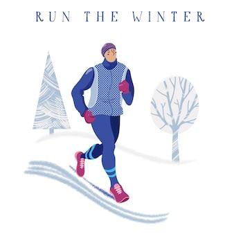 Jeune homme, jogging, dans, parc, hiver, courant, bannière