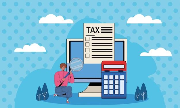Jeune homme, à, jour impôt, salaire, vecteur, illustration, conception