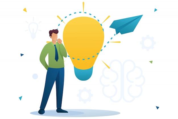 Jeune homme lance une idée d'entreprise, une création d'entreprise. réfléchissez à des idées commerciales. caractère plat. concept pour la conception web