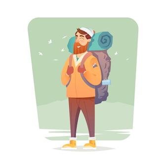Jeune homme marchant seul sur un sentier forestier. voyage d'aventure. vacances d'été. autour du monde. style de bande dessinée. illustration.
