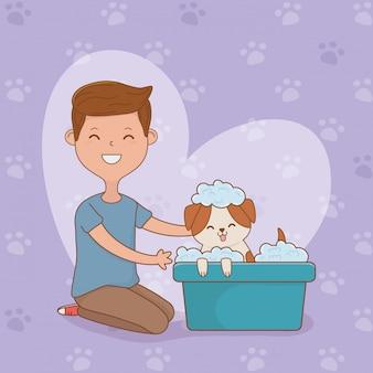Jeune homme avec une mascotte de chien mignon