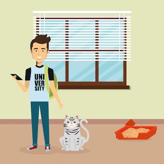 Jeune homme avec une mascotte mignonne dans la maison