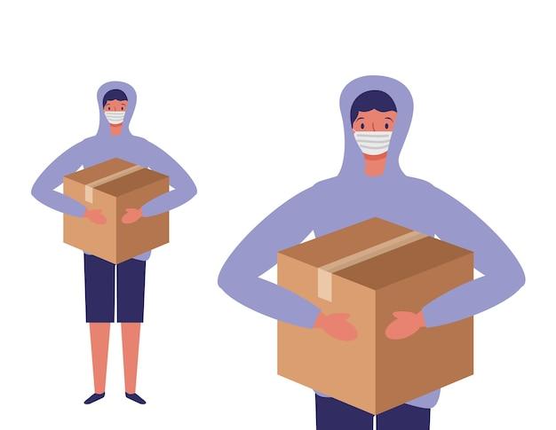 Jeune homme avec masque facial et illustration de dessin animé de boîte de don