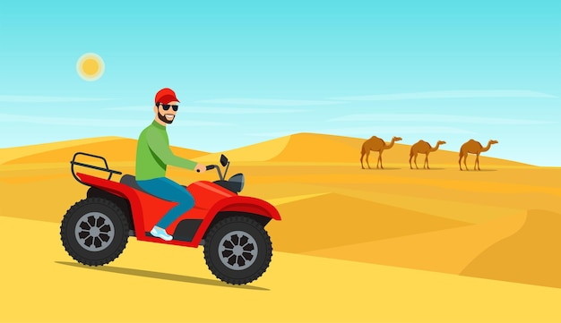 Jeune homme monté sur la moto atv dans le désert. illustration vectorielle