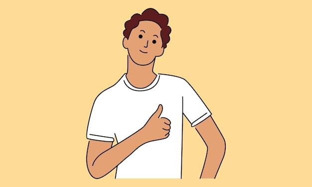 Jeune homme montre signe ok