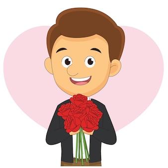 Jeune homme offrant des fleurs à sa petite amie le jour de la saint-valentin