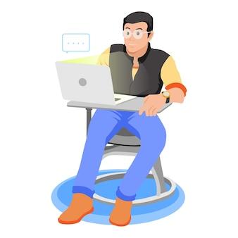 Jeune homme, à, ordinateur portable