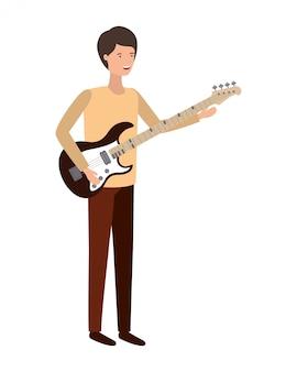 Jeune homme avec personnage de guitare électrique