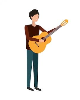Jeune homme avec personnage de guitare