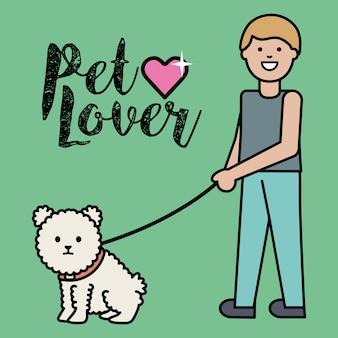 Jeune homme avec un petit chien adorable mascotte
