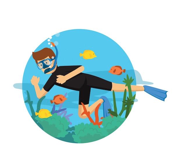 Jeune homme plongeant en costume noir