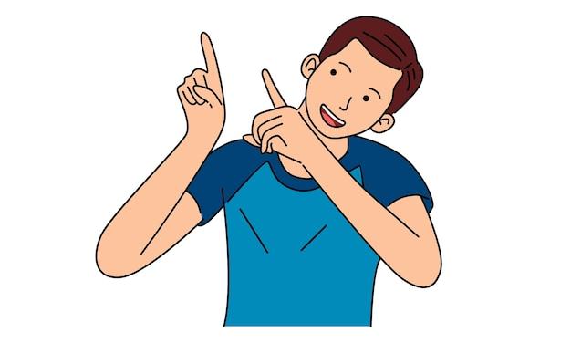 Jeune homme pointant vers l'extérieur avec les mains ensemble