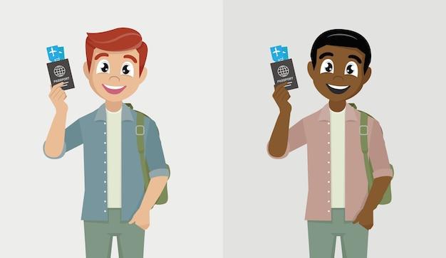 Jeune homme portant un masque médical et montrant le passeport et le billet