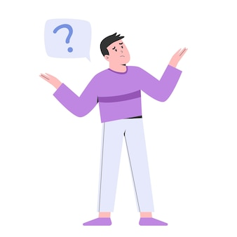 Jeune homme posant une question avec point d'interrogation