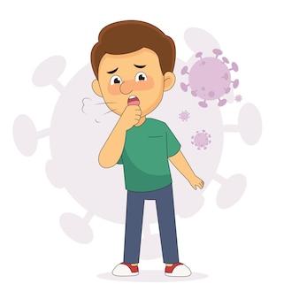 Jeune homme présentant un symptôme de toux sèche de coronavirus
