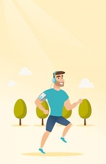 Jeune homme qui court avec écouteurs et smartphone