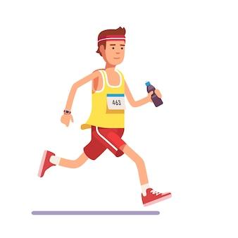 Jeune homme qui court un marathon