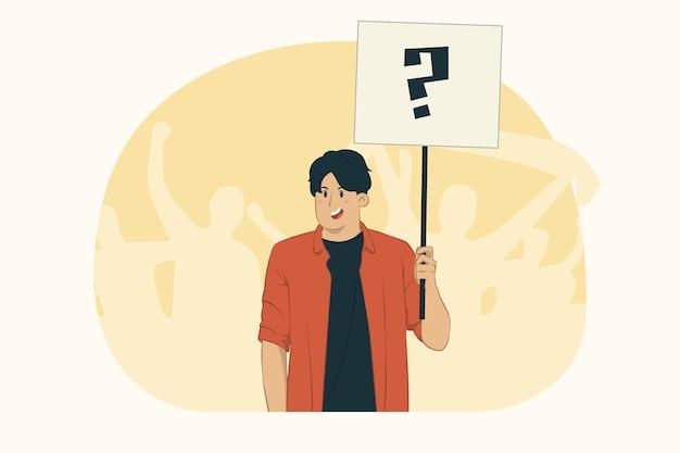 Jeune homme qui proteste tenant des panneaux de protestation concept de plaque vierge grand format