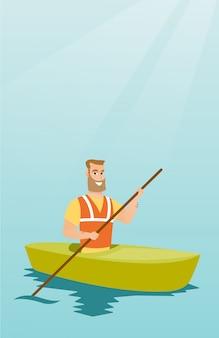 Jeune homme de race blanche voyageant en kayak.