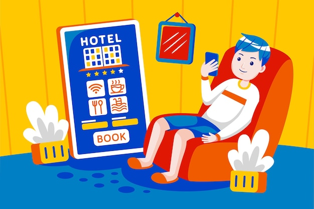 Jeune homme réservation hôtel en ligne avec application mobile.