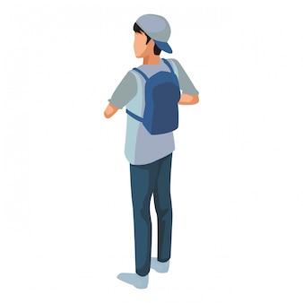 Jeune homme de retour avec sac à dos isométrique