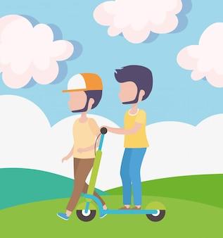 Jeune homme, à, scooter électrique, et, type, marche