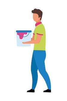 Jeune homme avec un seau de peinture à caractère vectoriel semi-plat de couleur. figure de marche. personne de tout le corps sur blanc. préparation à la peinture d'une illustration de style dessin animé moderne isolée pour la conception graphique et l'animation