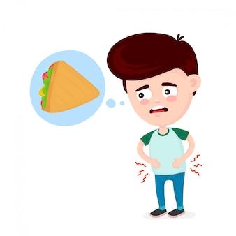 Jeune homme souffrant parce qu'il a faim