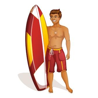 Jeune homme surfeur avec une planche de surf.