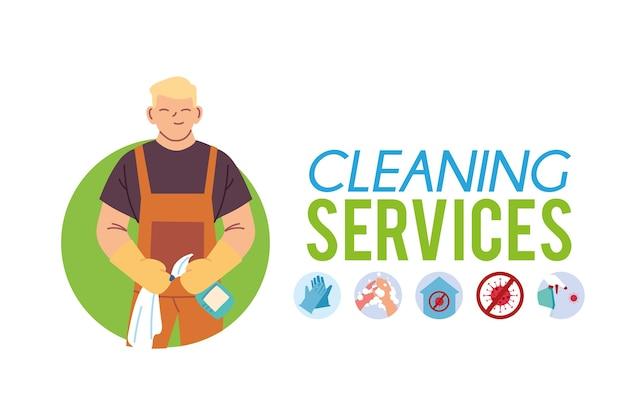 Jeune homme avec tablier et gants pour laver et nettoyer desing illustration