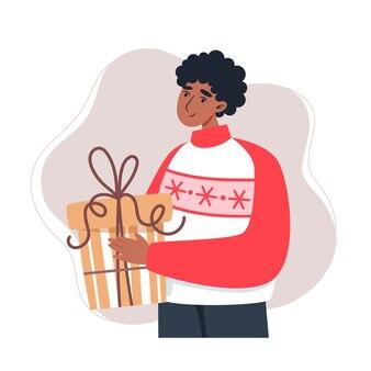Jeune homme tenant un cadeau, illustration dans un style plat