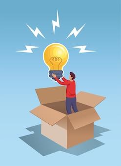 Jeune homme tenant une grande idée de lampe à ampoule penser à côté de l'illustration vectorielle de boîte