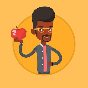 Jeune homme tenant illustration vectorielle apple.