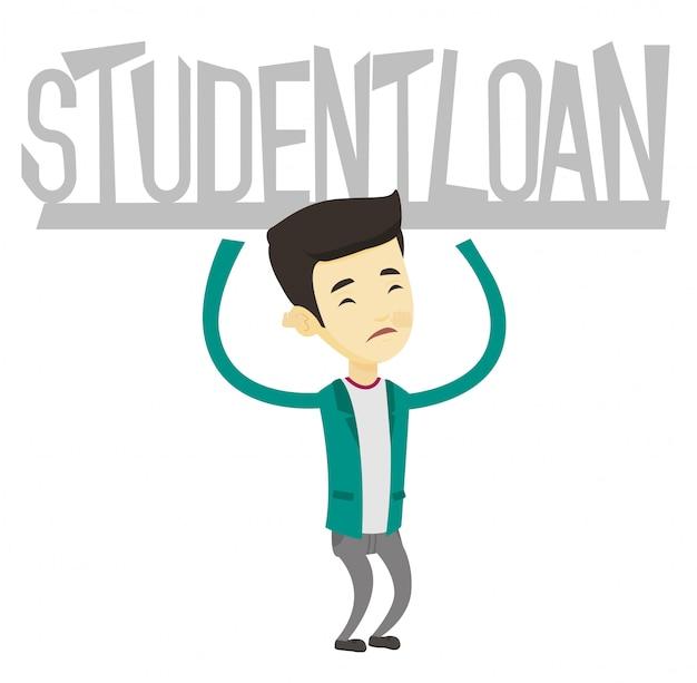 Jeune homme tenant une pancarte de prêt étudiant.