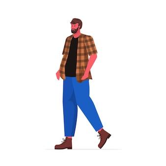 Jeune homme en tenue décontractée barbu debout pose personnage masculin