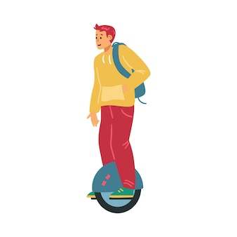 Jeune homme avec tour de sac à dos sur un appareil électrique mono roue