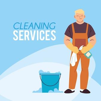 Jeune homme travaillant dans les articles de nettoyage bureau de service illustration desing