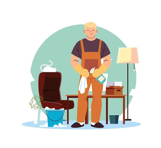 Jeune homme travaillant dans la conception d'illustration de bureau de service de nettoyage