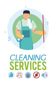 Jeune homme travaillant dans la conception d'illustration de service de nettoyage