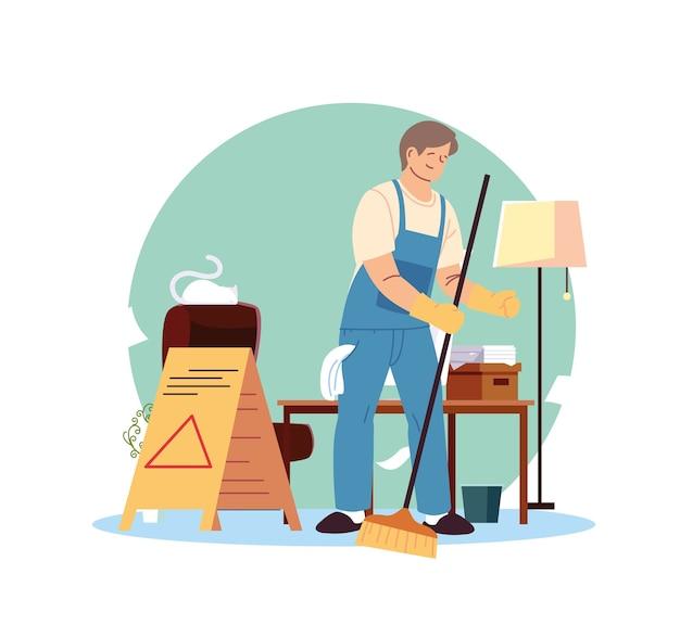 Jeune homme travaillant dans les espaces de service de nettoyage desing illustration